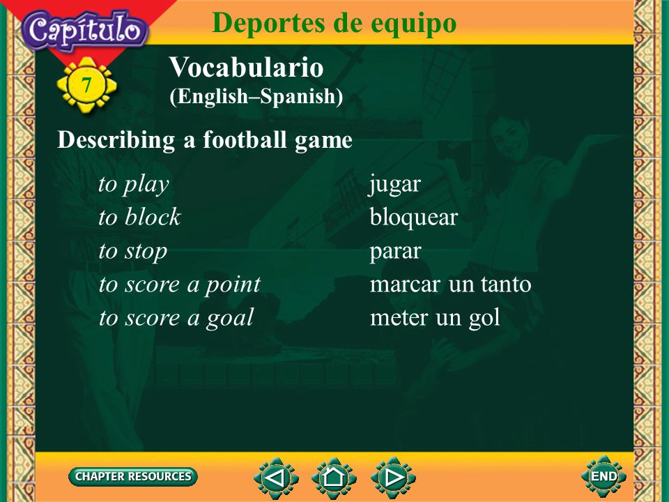 Deportes de equipo Vocabulario Describing a football game to play