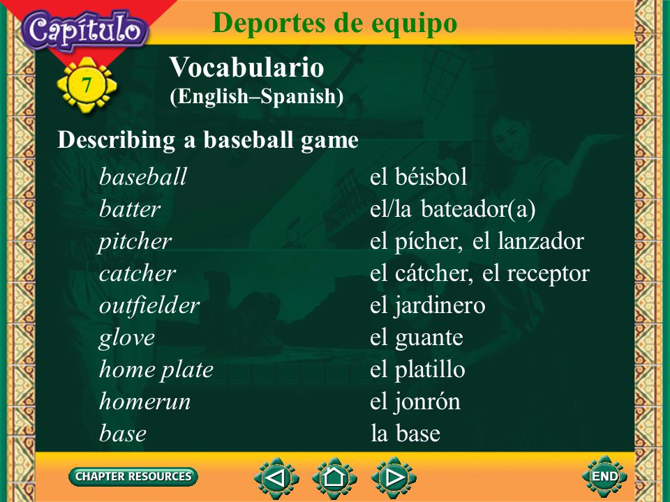 Deportes de equipo Vocabulario Describing a baseball game baseball