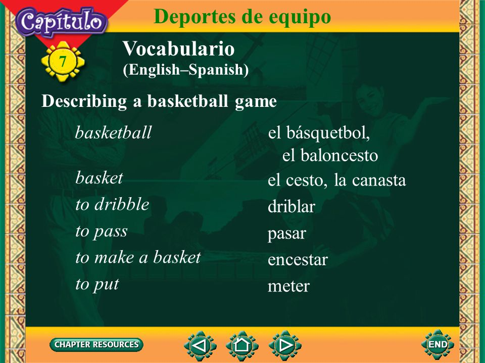 Deportes de equipo Vocabulario Describing a basketball game basketball