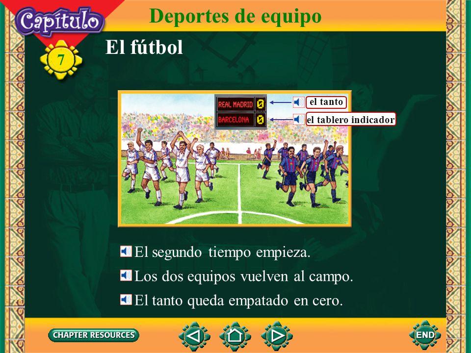 Deportes de equipo El fútbol 7 El segundo tiempo empieza.