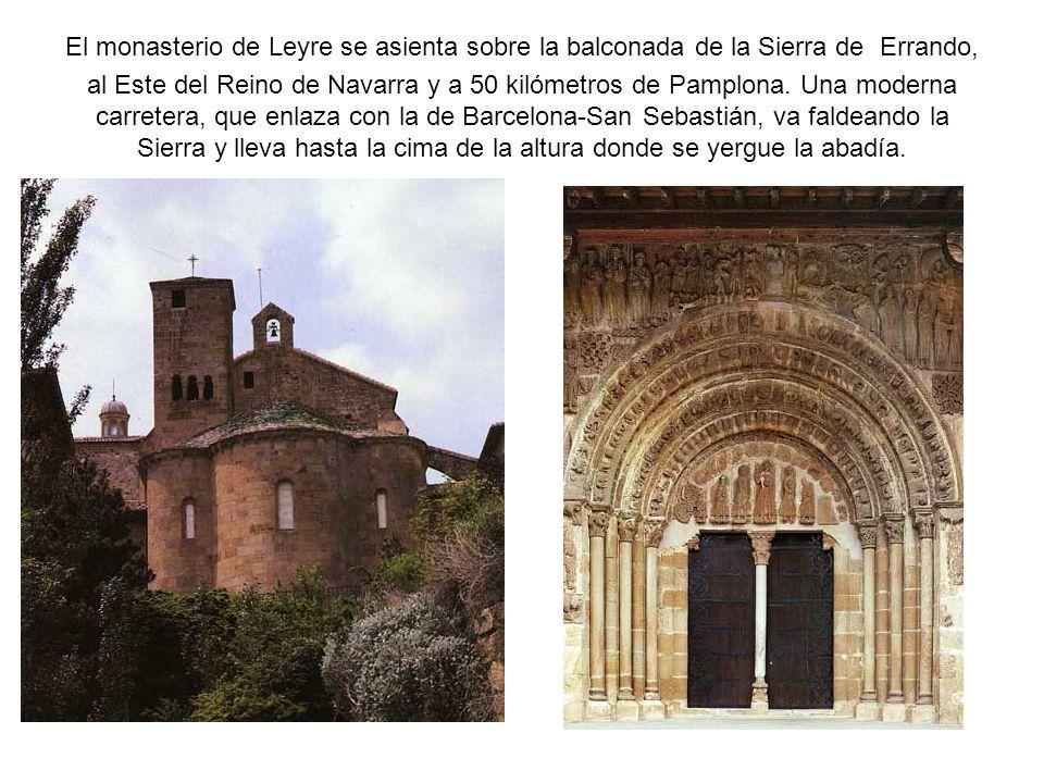 El monasterio de Leyre se asienta sobre la balconada de la Sierra de Errando, al Este del Reino de Navarra y a 50 kilómetros de Pamplona.