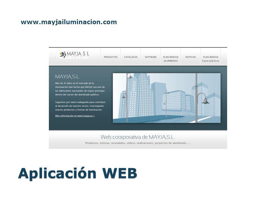 www.mayjailuminacion.com Aplicación WEB