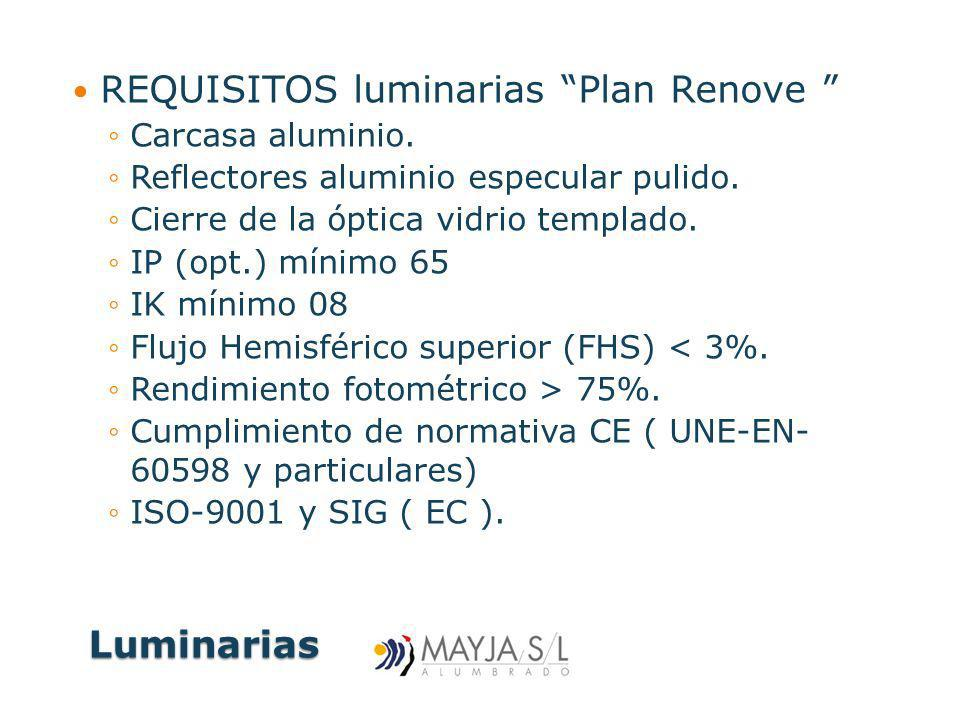 REQUISITOS luminarias Plan Renove