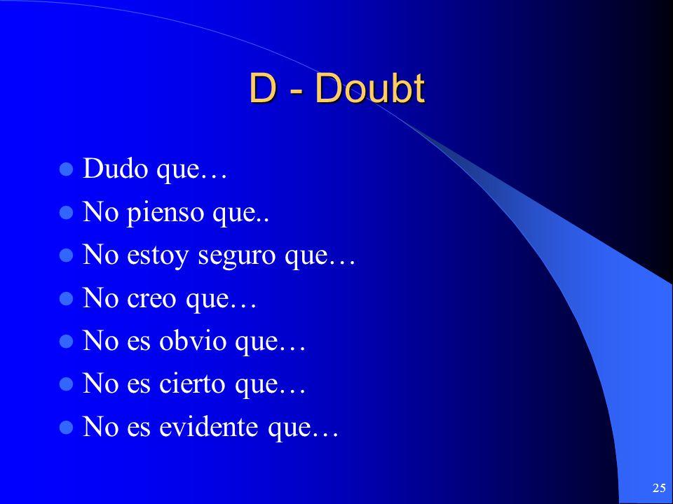 D - Doubt Dudo que… No pienso que.. No estoy seguro que… No creo que…