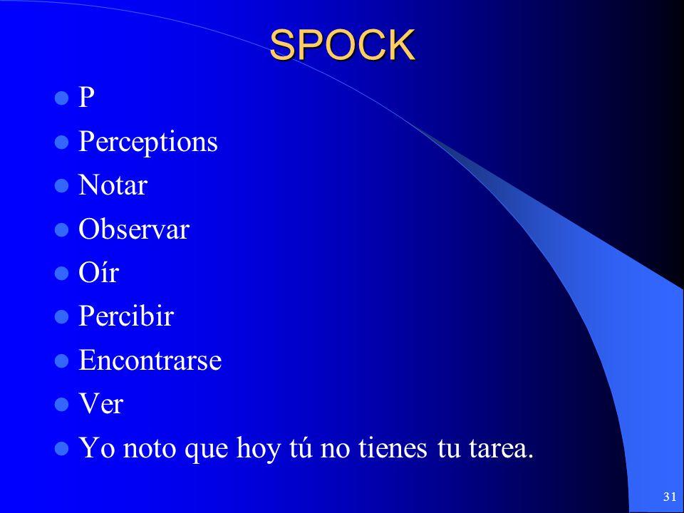 SPOCK P Perceptions Notar Observar Oír Percibir Encontrarse Ver