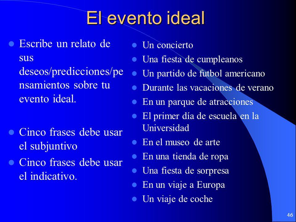El evento ideal Escribe un relato de sus deseos/predicciones/pensamientos sobre tu evento ideal. Cinco frases debe usar el subjuntivo.
