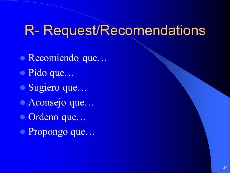 R- Request/Recomendations