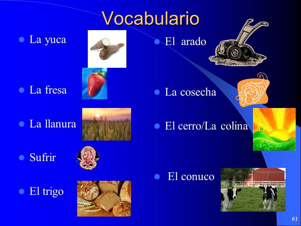 Vocabulario La yuca El arado La fresa La cosecha La llanura