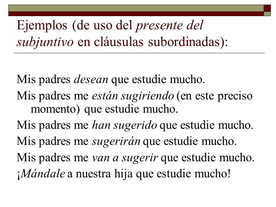 Ejemplos (de uso del presente del subjuntivo en cláusulas subordinadas):