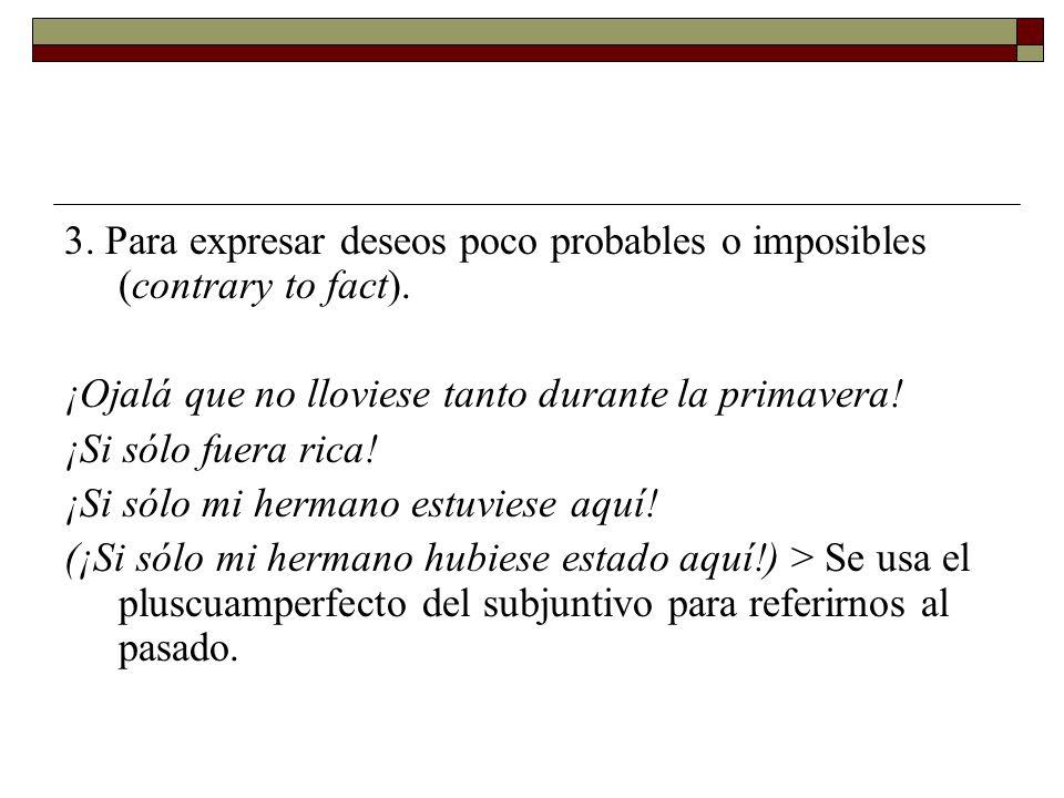 3. Para expresar deseos poco probables o imposibles (contrary to fact).