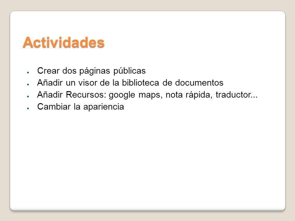 Actividades Crear dos páginas públicas