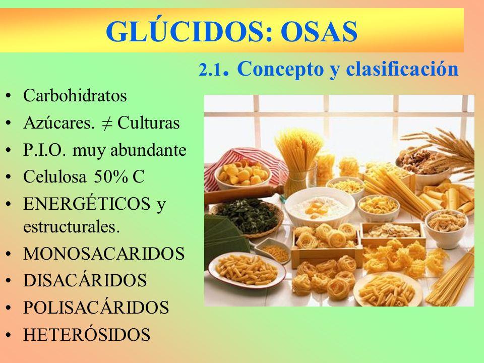 GLÚCIDOS: OSAS 2.1. Concepto y clasificación Carbohidratos