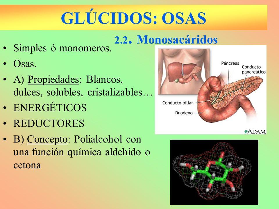GLÚCIDOS: OSAS 2.2. Monosacáridos Simples ó monomeros. Osas.