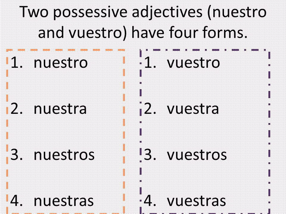 Two possessive adjectives (nuestro and vuestro) have four forms.
