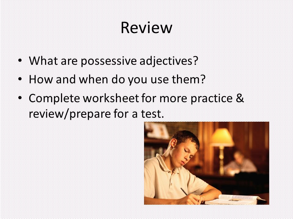 Review What are possessive adjectives How and when do you use them