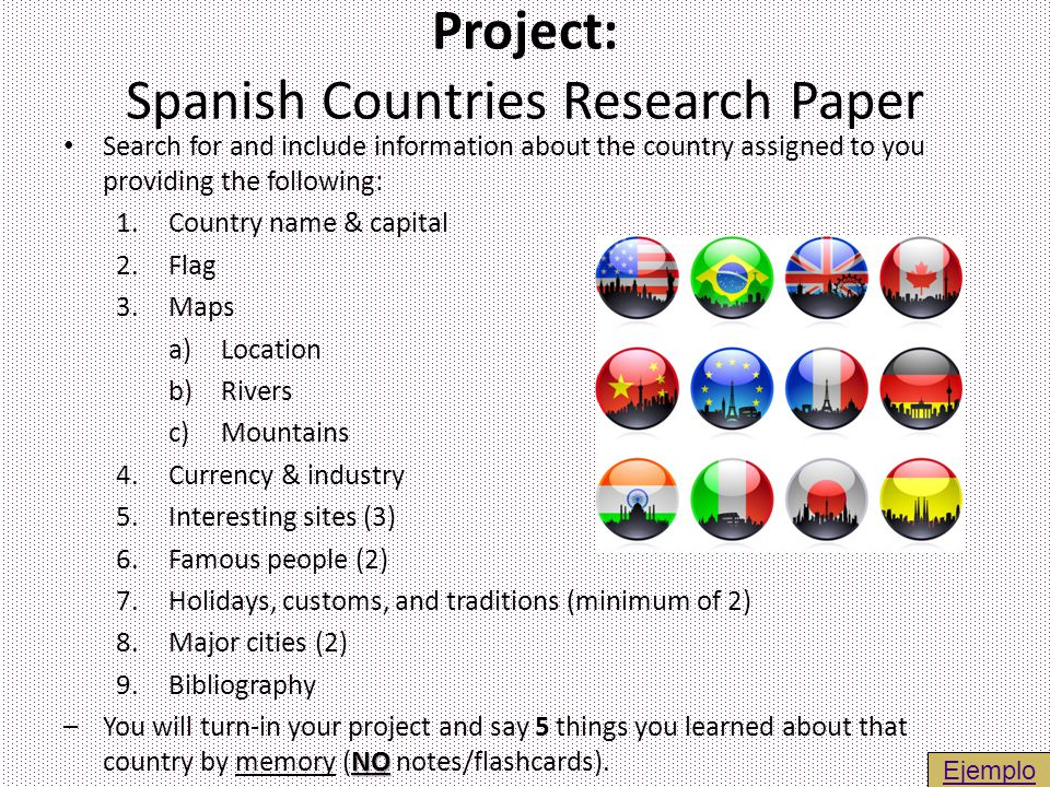 Project: Spanish Countries Research Paper