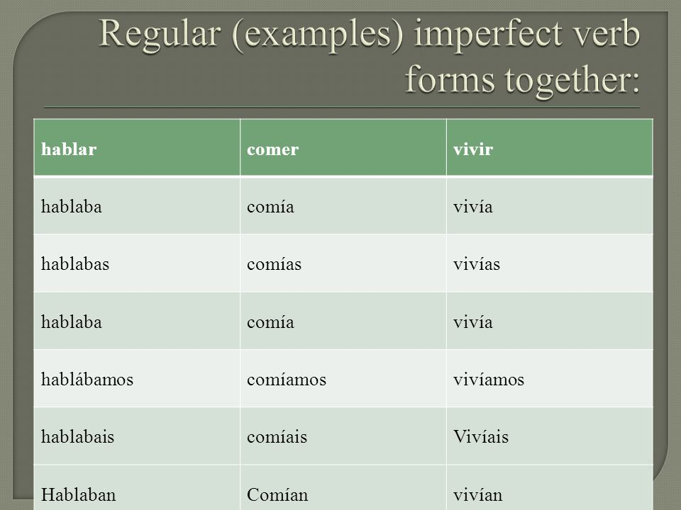 Regular (examples) imperfect verb forms together: