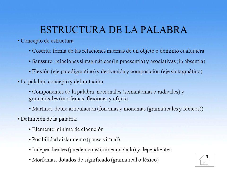 ESTRUCTURA DE LA PALABRA
