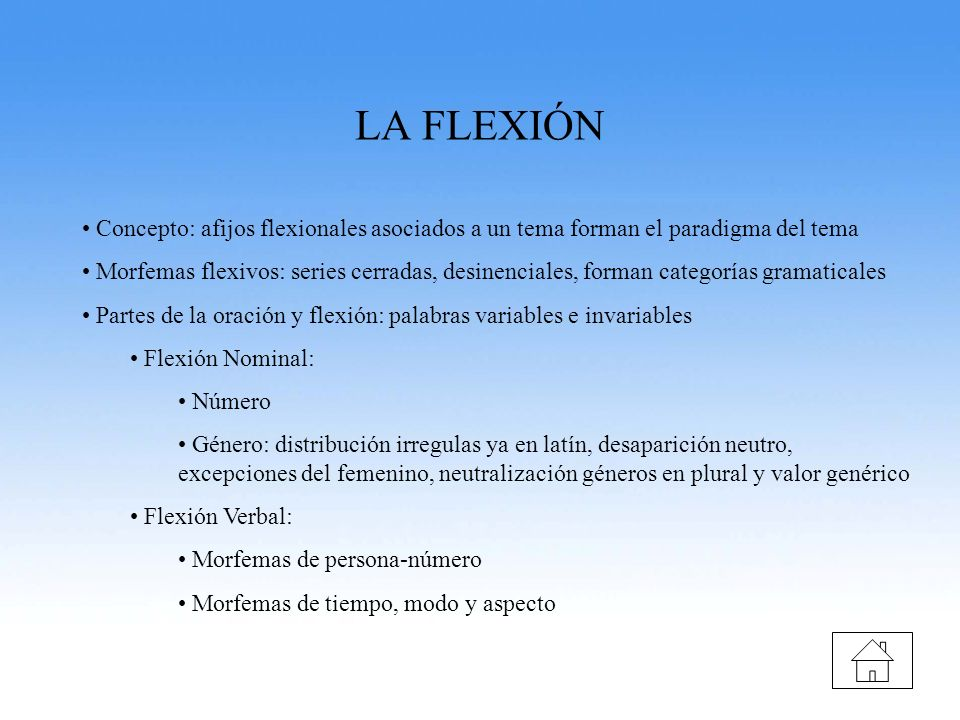 LA FLEXIÓN Concepto: afijos flexionales asociados a un tema forman el paradigma del tema.