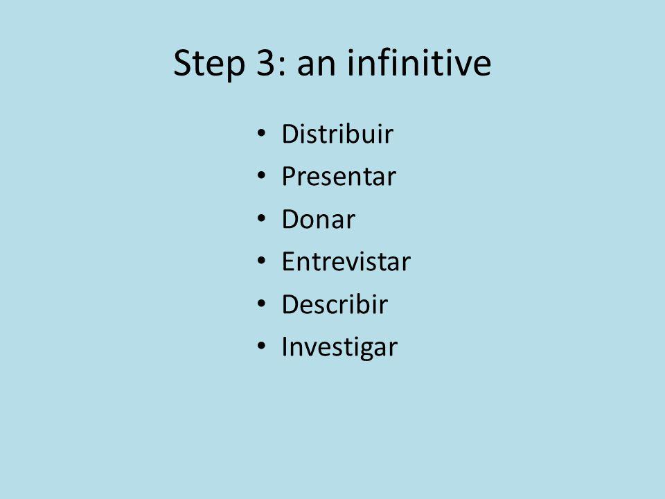 Step 3: an infinitive Distribuir Presentar Donar Entrevistar Describir