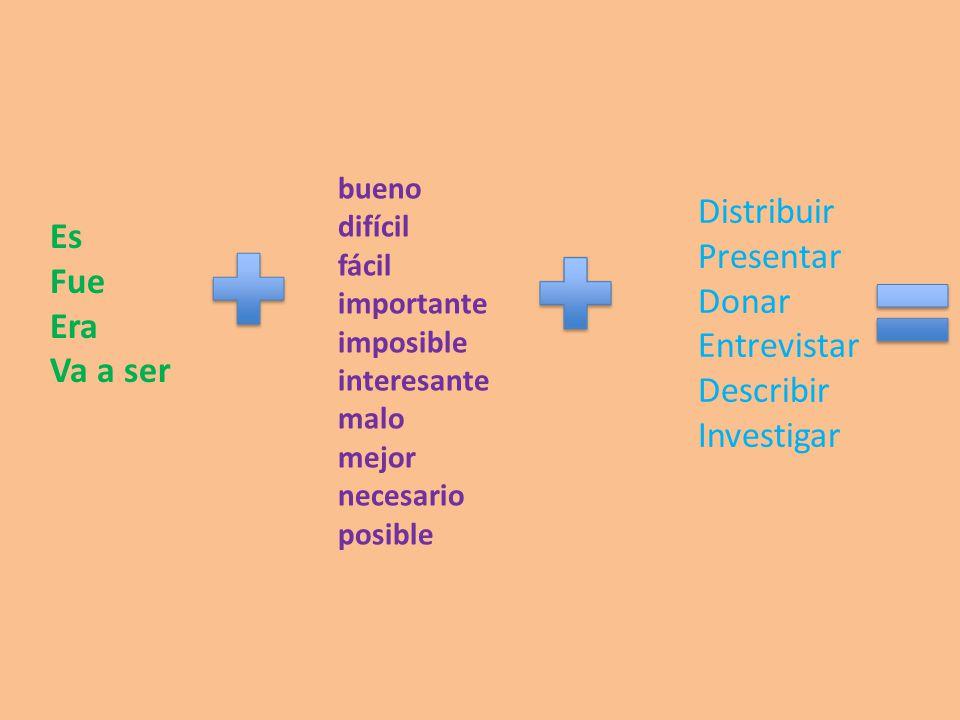 Distribuir Presentar Es Fue Donar Era Entrevistar Va a ser Describir
