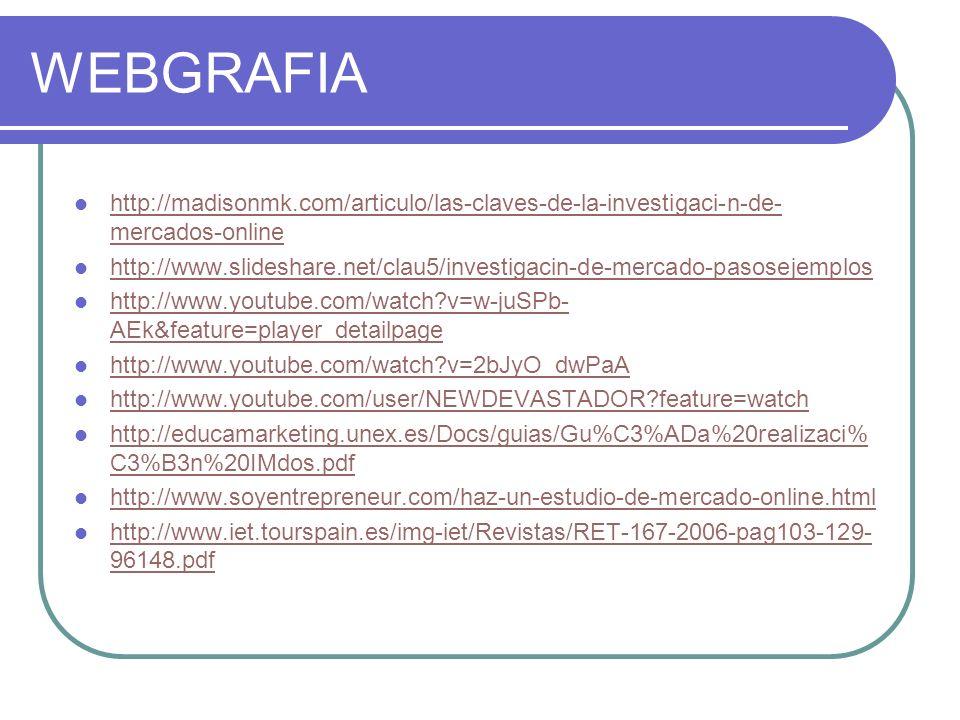 WEBGRAFIA http://madisonmk.com/articulo/las-claves-de-la-investigaci-n-de-mercados-online.