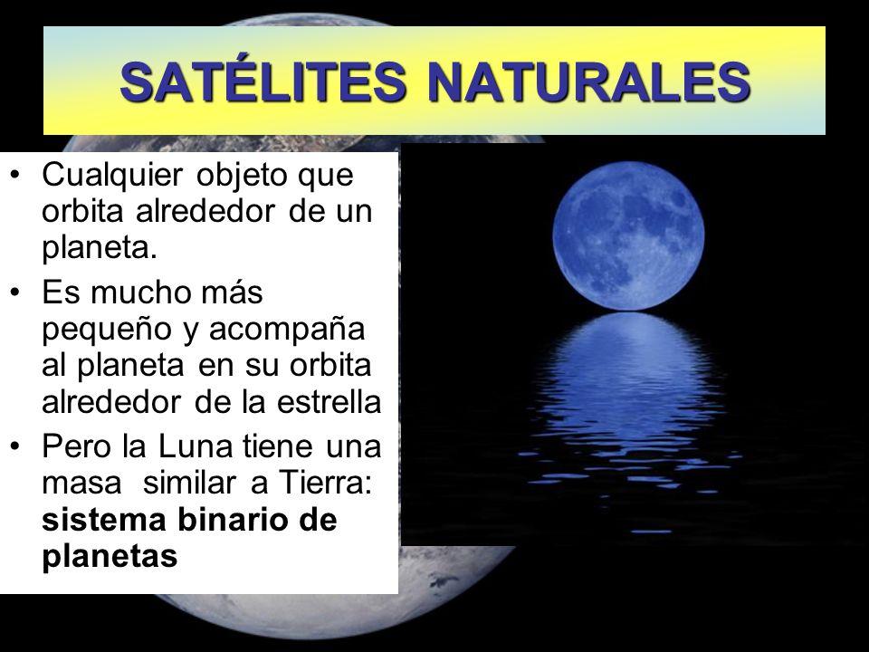 SATÉLITES NATURALES Cualquier objeto que orbita alrededor de un planeta.