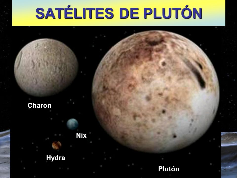 SATÉLITES DE PLUTÓN Charon Nix Hydra Plutón