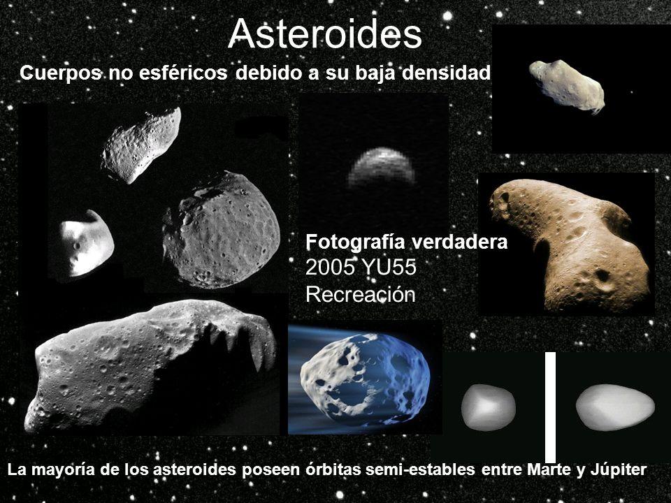 Asteroides Cuerpos no esféricos debido a su baja densidad