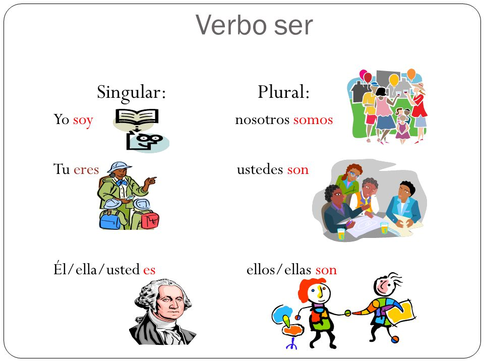 Verbo ser Singular: Plural: Yo soy nosotros somos Tu eres ustedes son Él/ella/usted es ellos/ellas son