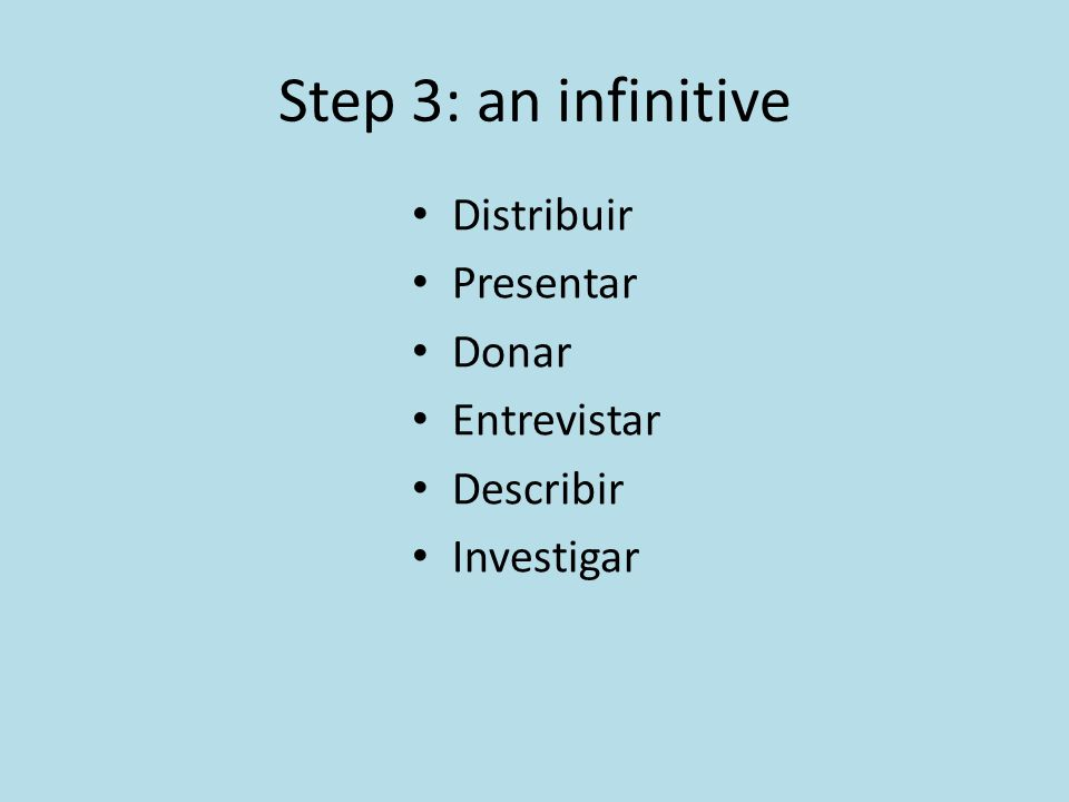 Step 3: an infinitive Distribuir Presentar Donar Entrevistar Describir