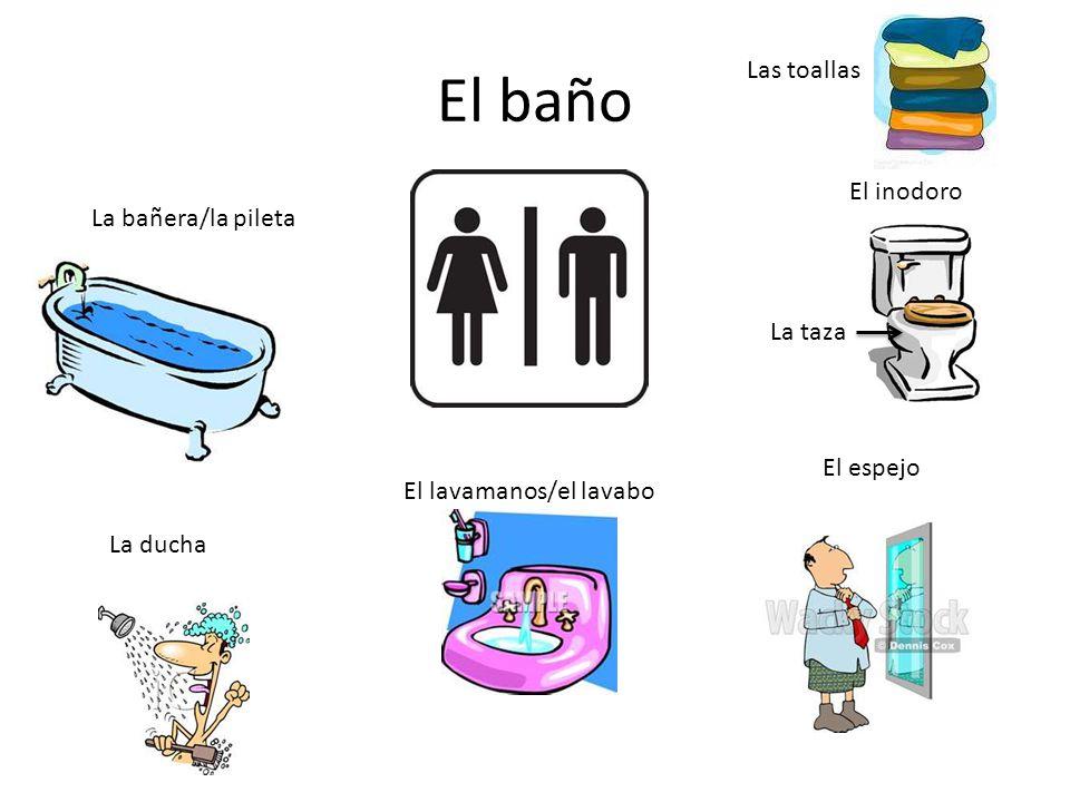 El baño Las toallas El inodoro La bañera/la pileta La taza El espejo