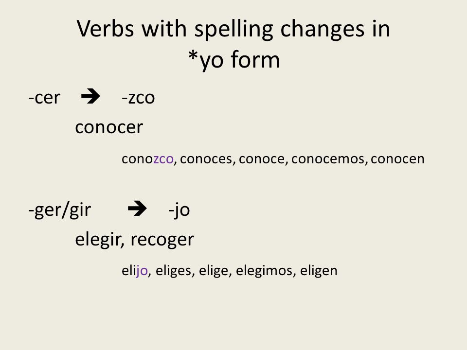 Verbs with spelling changes in *yo form