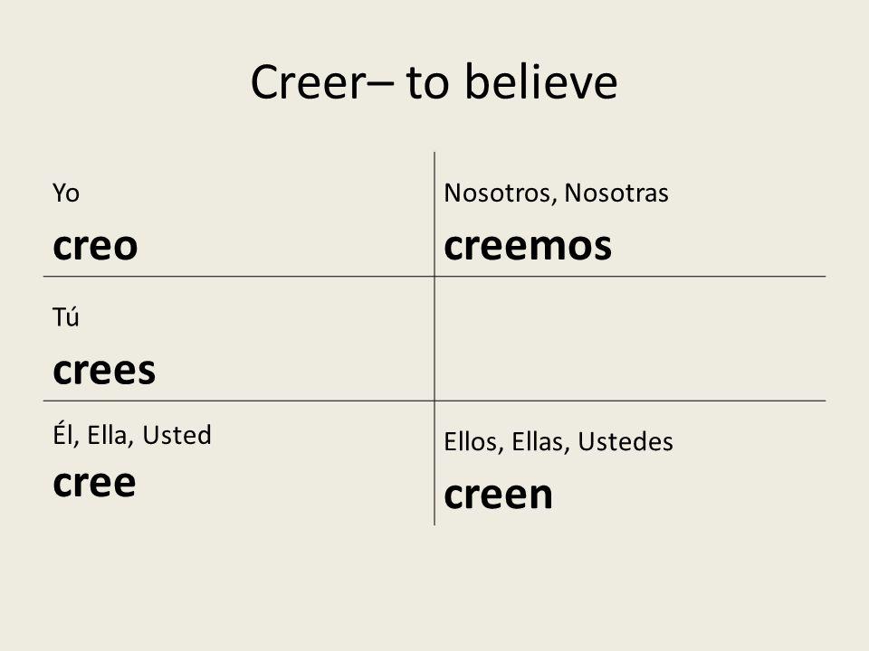 Creer– to believe creo cree Yo Nosotros, Nosotras creemos Tú crees