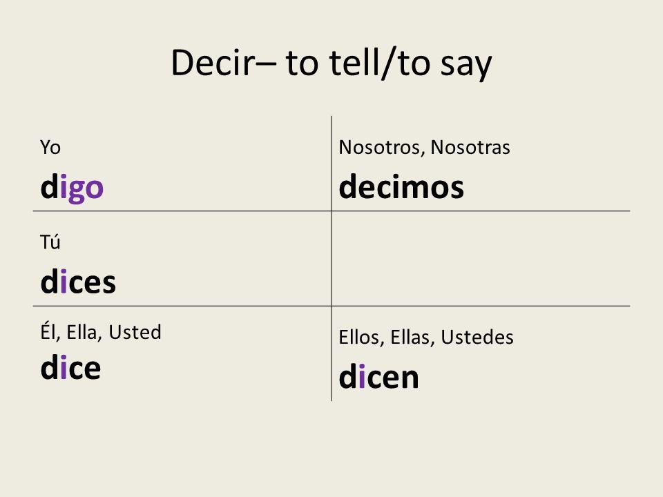Decir– to tell/to say digo dice Yo Nosotros, Nosotras decimos Tú dices