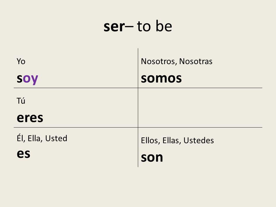 ser– to be soy es Yo Nosotros, Nosotras somos Tú eres Él, Ella, Usted