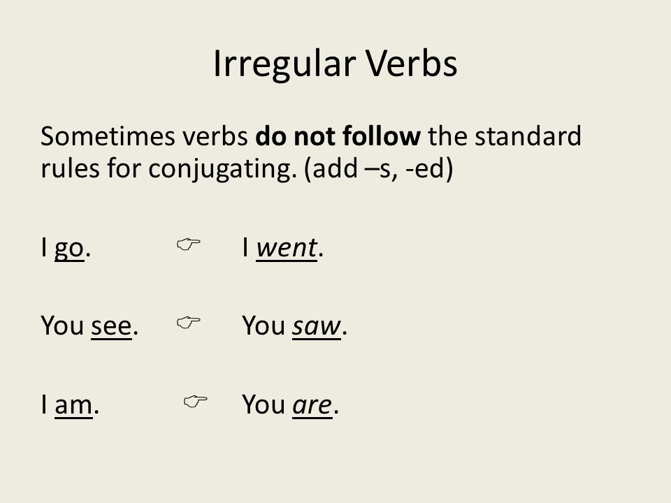 Irregular Verbs Sometimes verbs do not follow the standard rules for conjugating.
