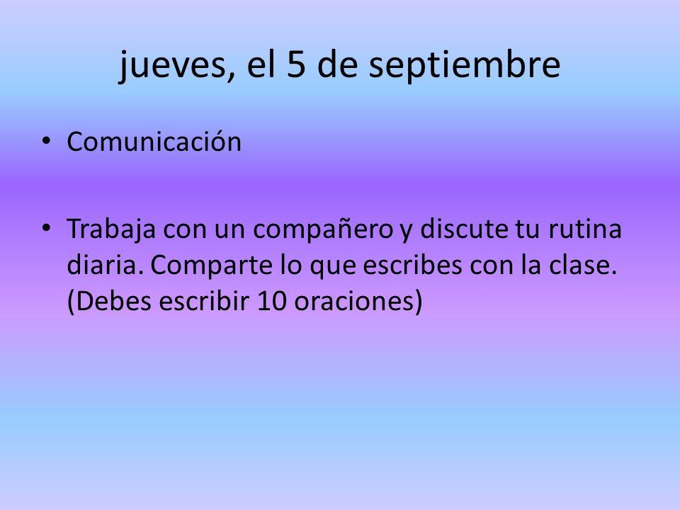 jueves, el 5 de septiembre