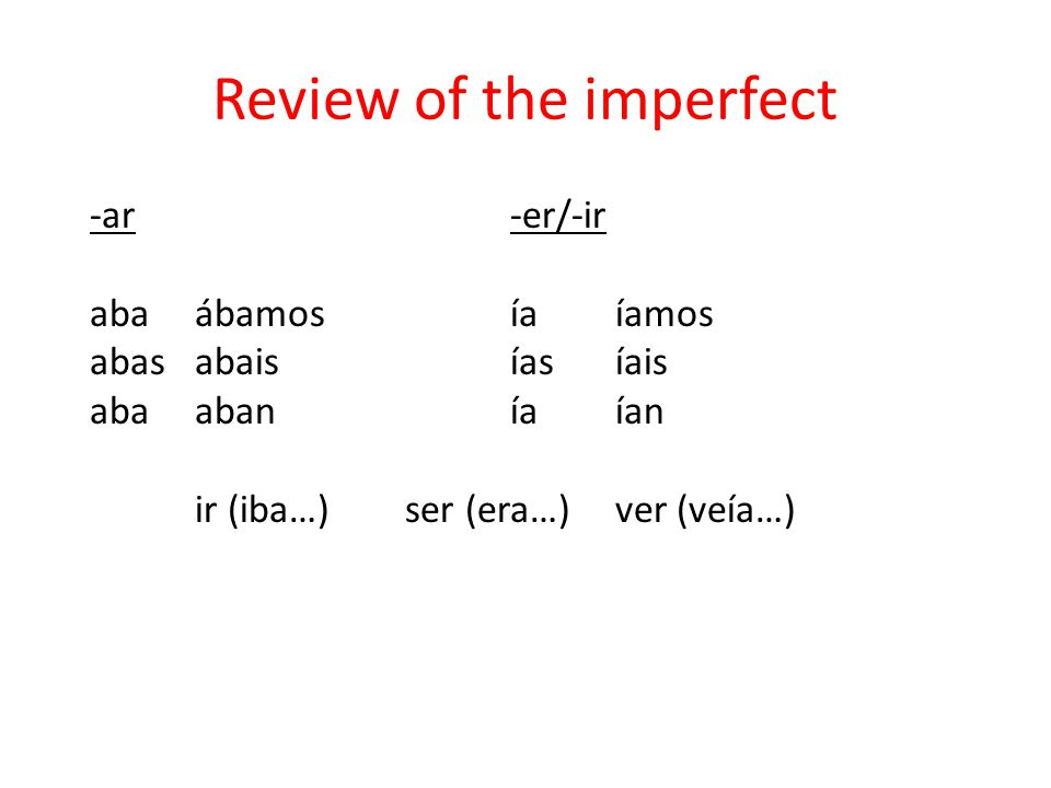 Review of the imperfect