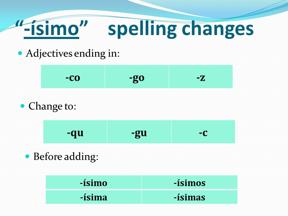 -ísimo spelling changes