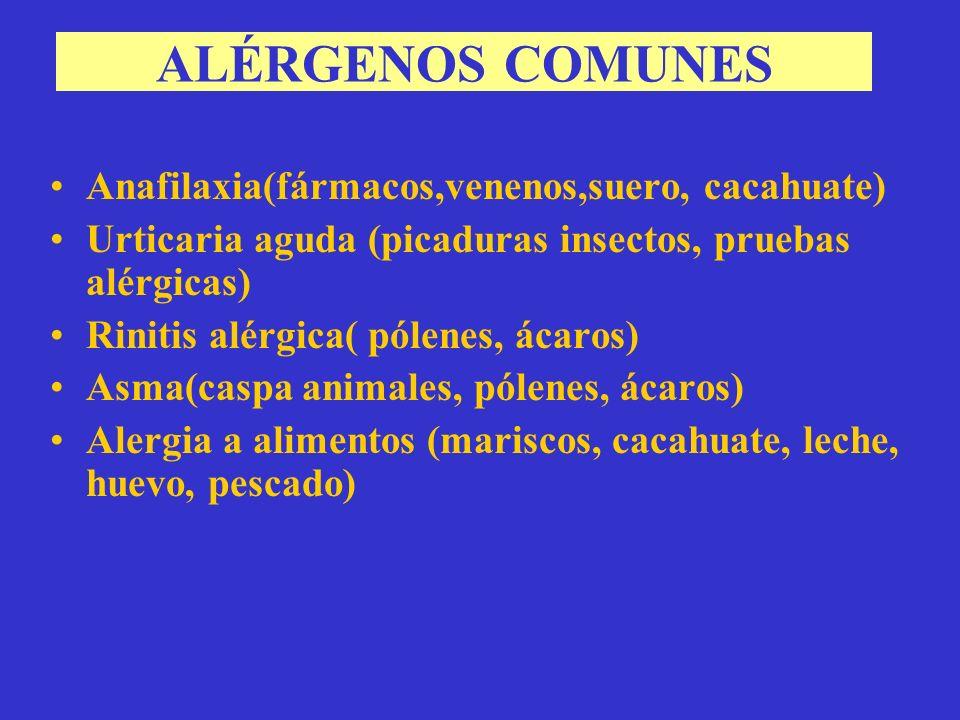 ALÉRGENOS COMUNES Anafilaxia(fármacos,venenos,suero, cacahuate)
