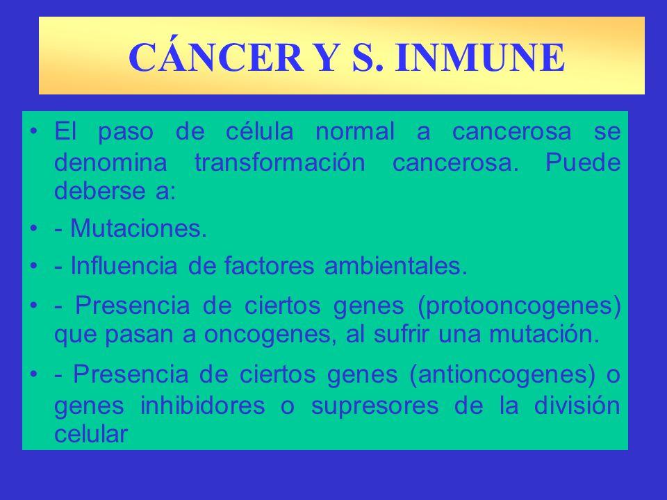 CÁNCER Y S. INMUNE El paso de célula normal a cancerosa se denomina transformación cancerosa. Puede deberse a: