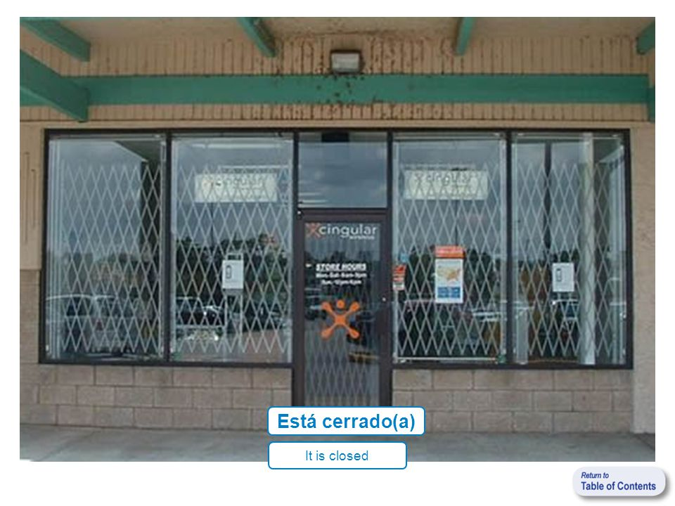 Está cerrado(a) It is closed
