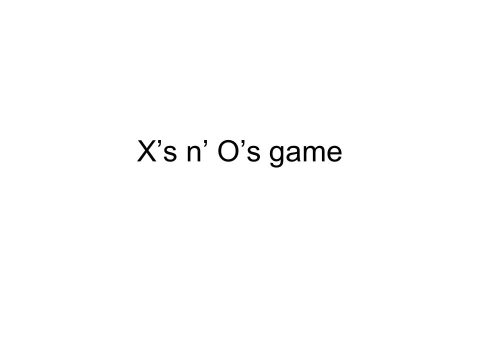 X's n' O's game
