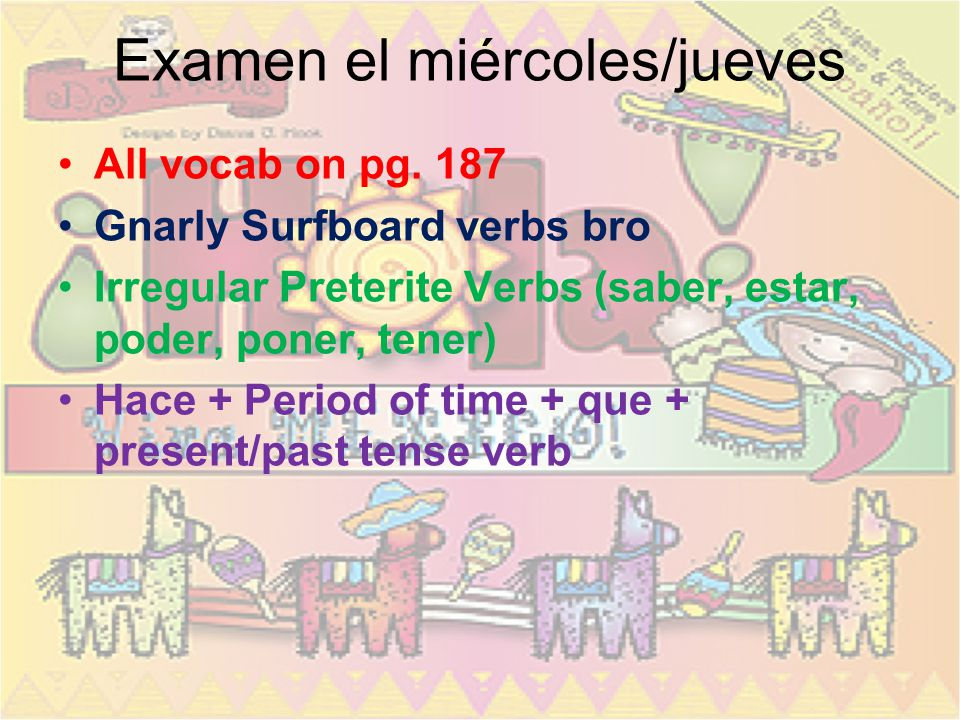 Examen el miércoles/jueves