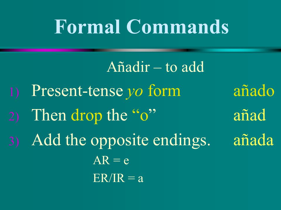 Formal Commands Present-tense yo form añado Then drop the o añad