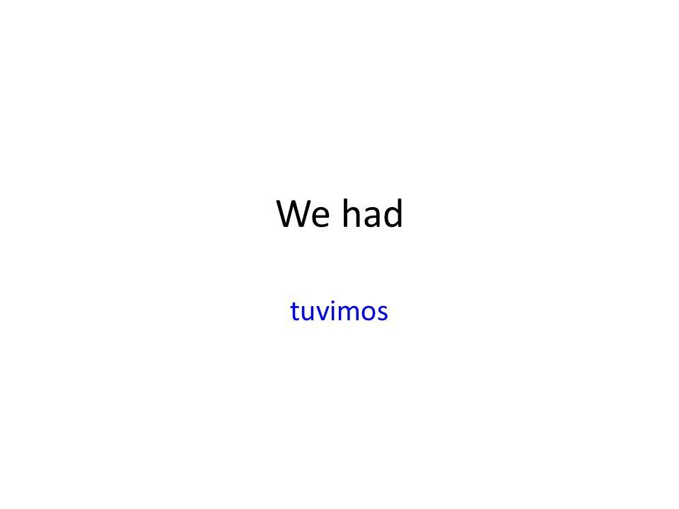 We had tuvimos