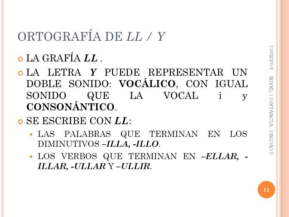 ORTOGRAFÍA DE LL / Y LA GRAFÍA LL .