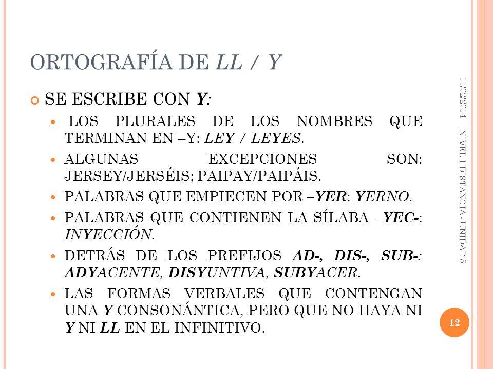 ORTOGRAFÍA DE LL / Y SE ESCRIBE CON Y: