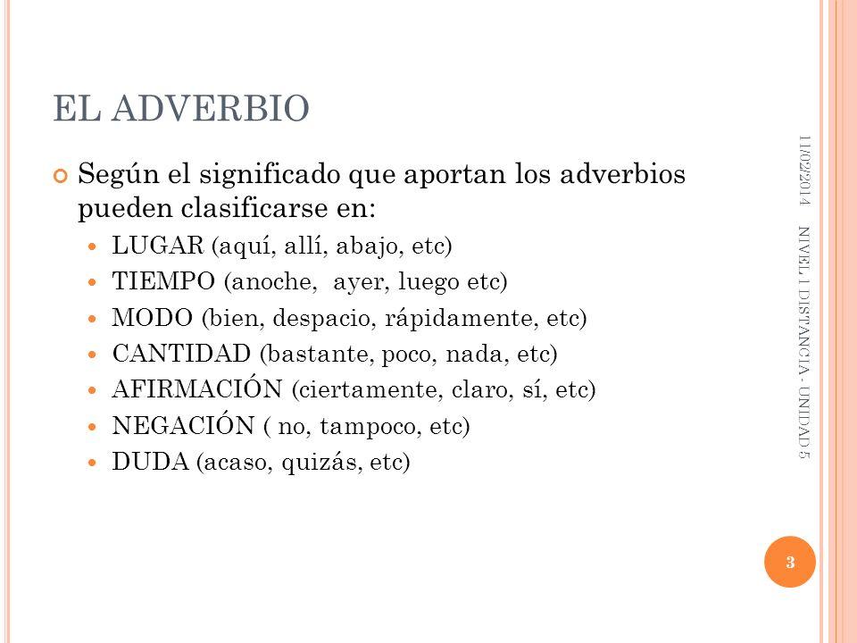 EL ADVERBIO 25/03/2017. Según el significado que aportan los adverbios pueden clasificarse en: LUGAR (aquí, allí, abajo, etc)